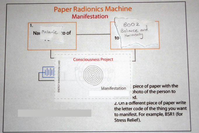 Manifestation Paper Radionics Machine Board Setup to Send Energies to a Person